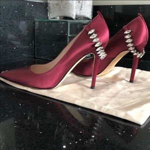 Satin burgundy embellished heels by SJP